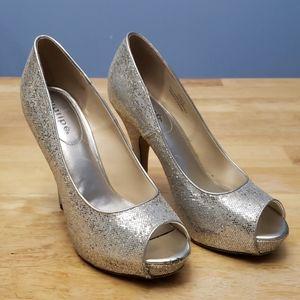 Maripe Amaya Silver Sequined Peep Toes